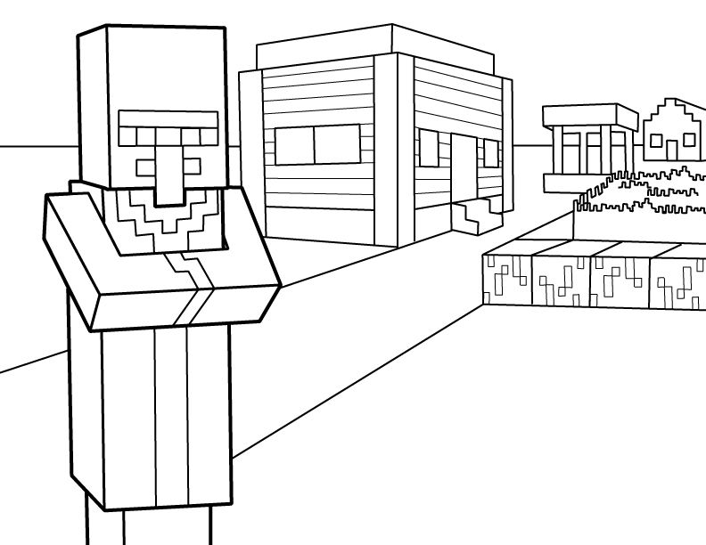 Villager Pdf Printable Coloring Page Minecraft