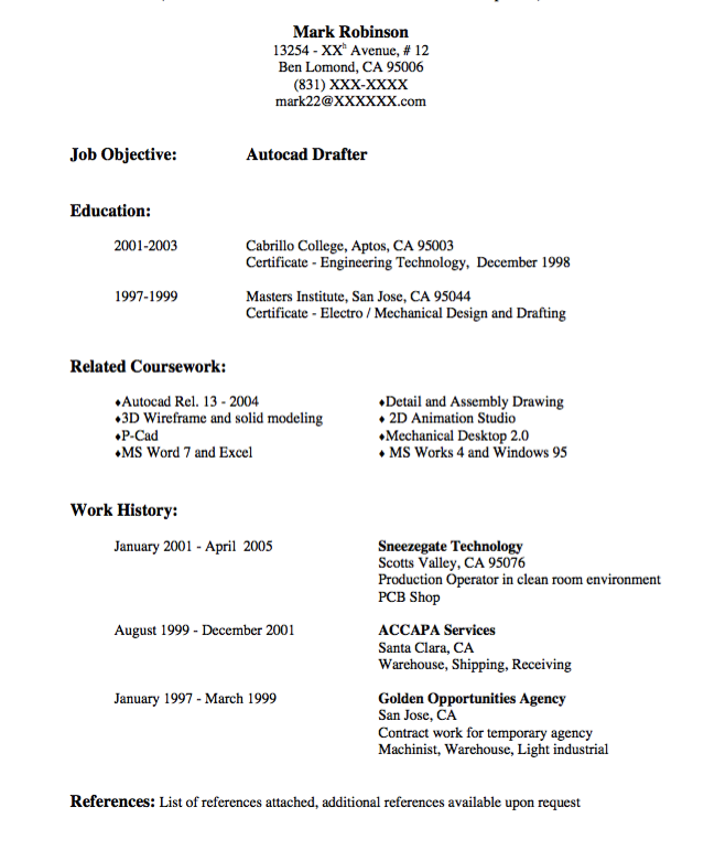 Autocad Drafter Resume Sample Examples Resume Cv