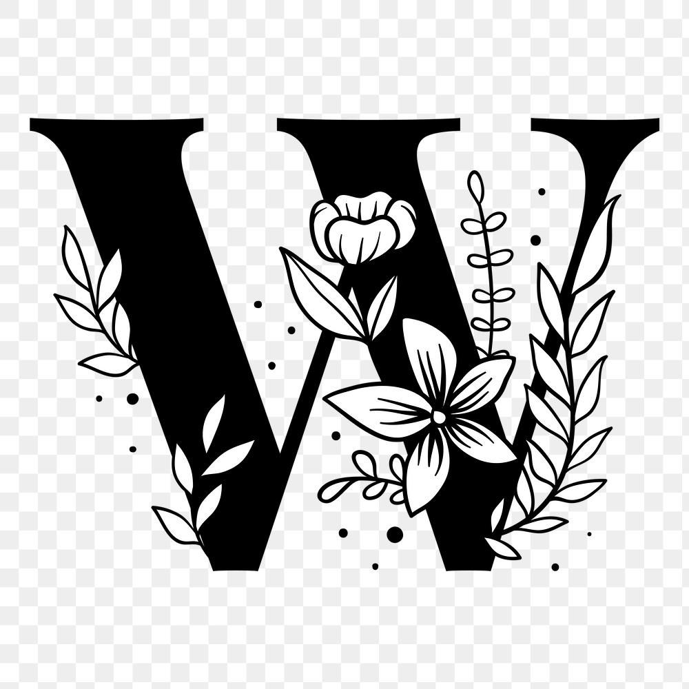 Png Letter W Floral Font Typography Free Image By Rawpixel Com Tvzsu Floral Font Lettering Alphabet Lettering Alphabet Fonts