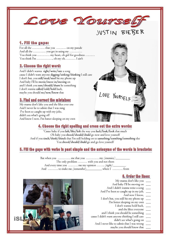 Song: Love yourself -Justin Bieber   Для старшеклассников ...
