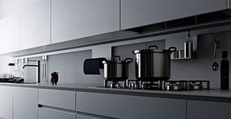 Contemporary Kitchen Aluminium Lacquered Matte RICICLANTICA - Matte grey kitchen