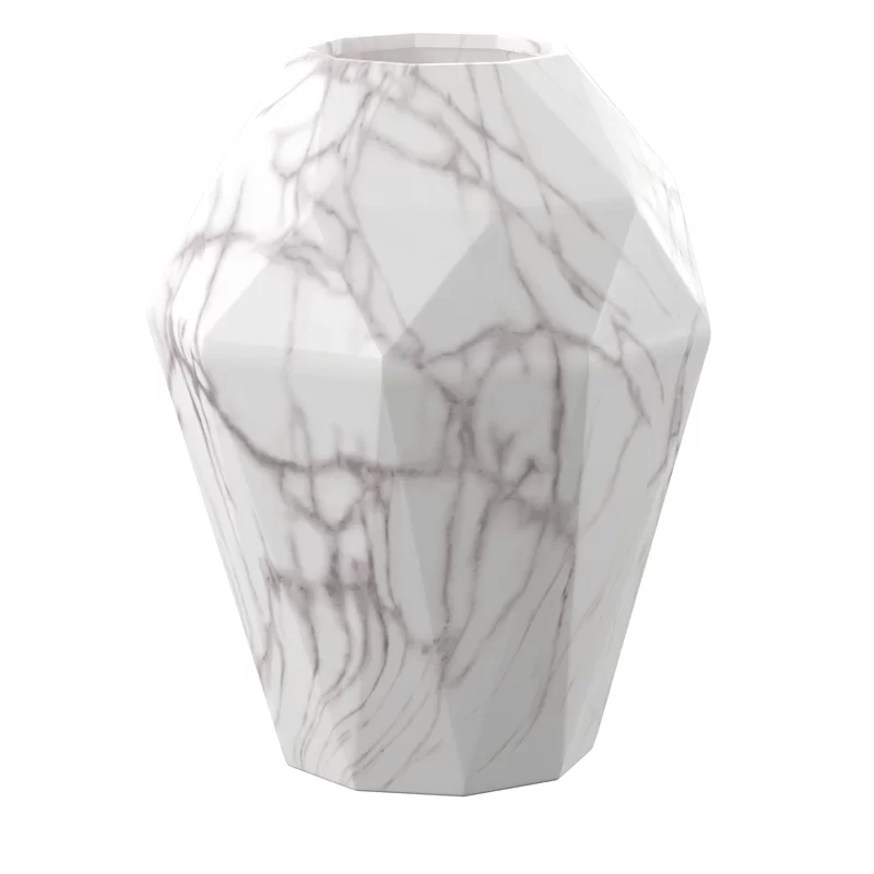 Dorfman White Gray 12 Ceramic Marble Table Vase In 2020 Table Vases Marble Table Vase