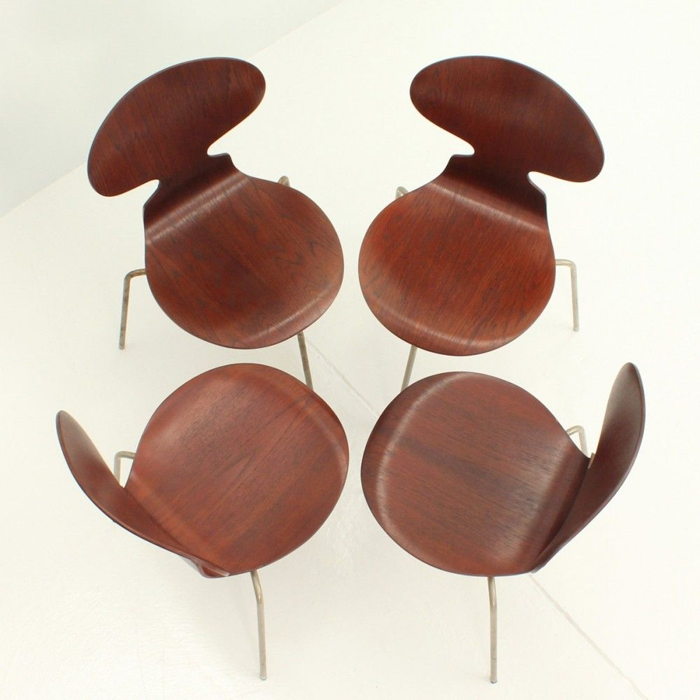 Famous Chair Set Of Four Early Ant Chairs By Arne Jacobsen 1950s Chairs