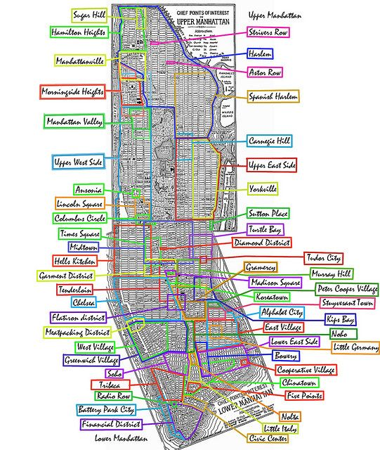 ManhattanNeighborhoods By Pauljeremiah Via Flickr  New York