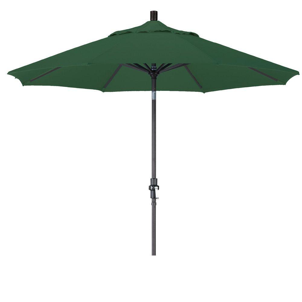 Eclipse Collection 9' Aluminum Market Umbrella Collar Tilt - Matted Black/Olefin/Hunter Green