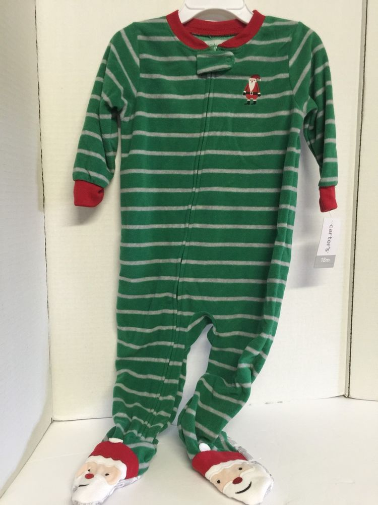 fc629c2b0 Carters Infant Boys Sleeper Green Stripe Santa Design 18 Months ...