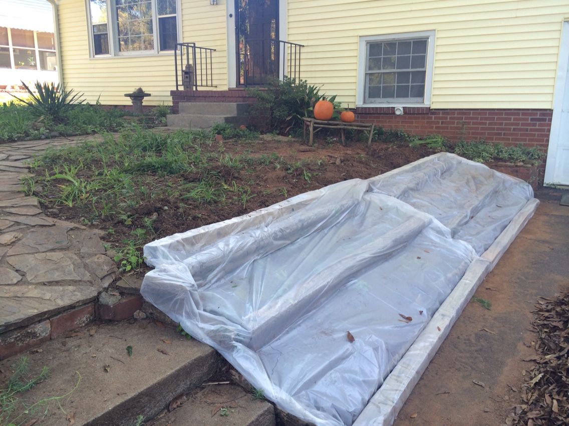 Plastic Sheeting Used For Temporary Erosion Control On My Rotting Wooden Flower Bed I Can T Replace The Flower Bed Wooden Flowers Outdoor Sofa Erosion Control