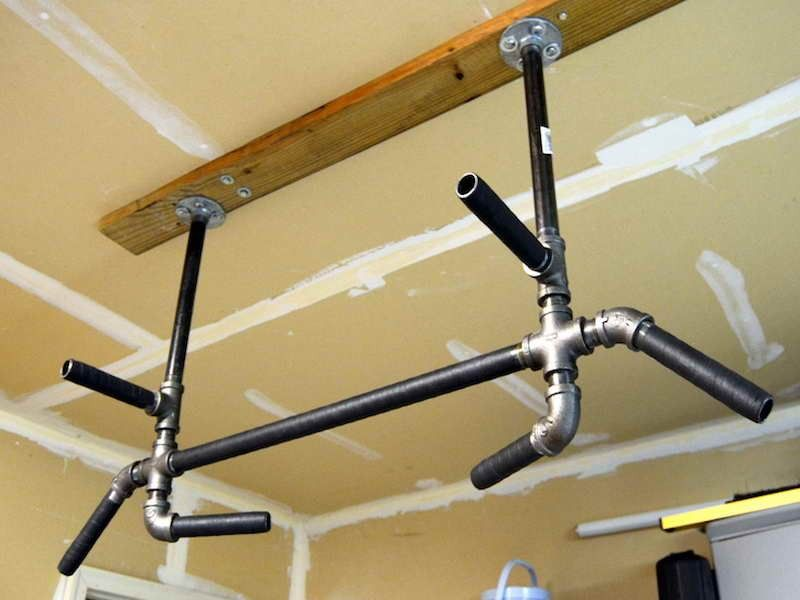 Fitness with ceiling mounted pull up bar crossfit home