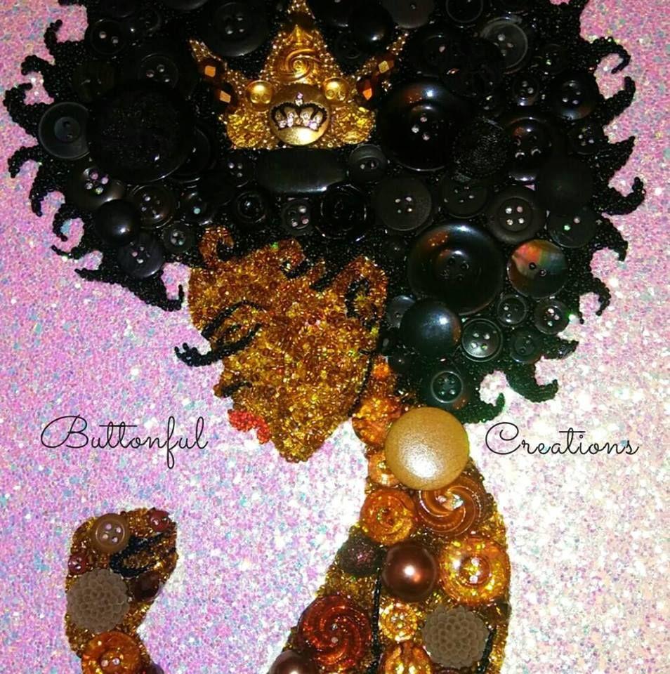 Black Queen Button Art. Woman Empowerment Art Crown Princess Created Buttonful Creations