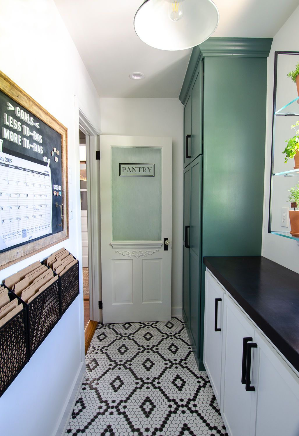 WalkIn Pantry Reveal - Pantry remodel, Pantry design, Walk in pantry, Pantry shelving, Kitchen renovation, Hexagon tile floor - So today, I'll walk you through our walk in pantry reveal! We've added tons of storage with shelving and cabinets to keep us organized