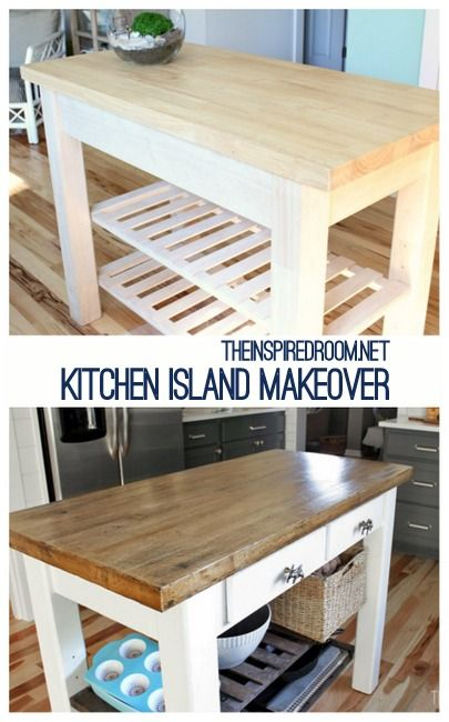 DIY Kitchen Island {from new unfinished furniture to antique