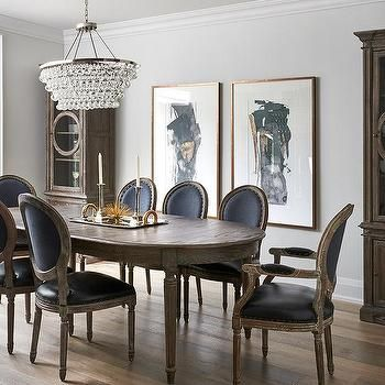 Pleasing Oval French Dining Table With Black Leather Round Back Uwap Interior Chair Design Uwaporg