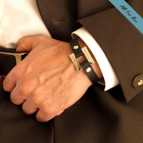 GPS Coordinates Leather Bracelet / Husband Gift