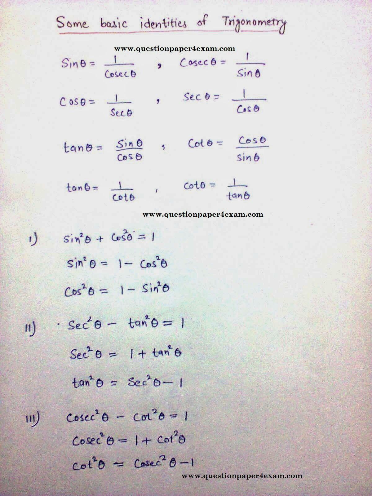Ssc Exam Trigonometry Basic Concepts Question Paper Math Methods Trigonometry Basic Math [ 1600 x 1200 Pixel ]