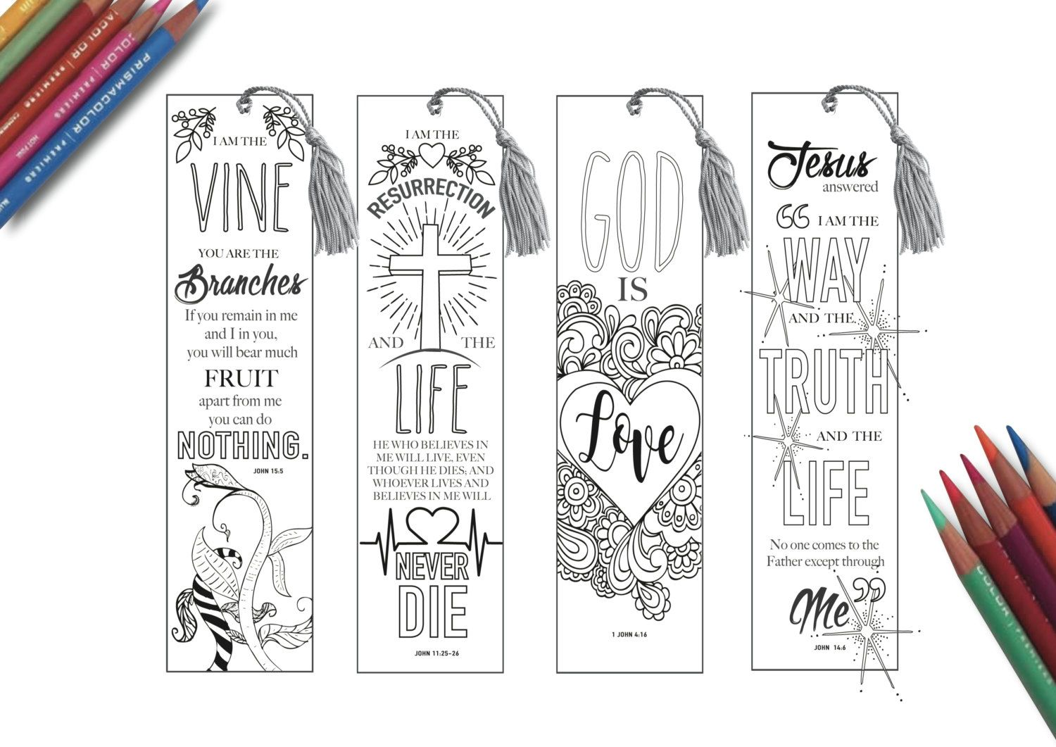 Religious bookmarks to color - Coloring In Bible Bookmarks Bible Journaling By Yikkatyyak