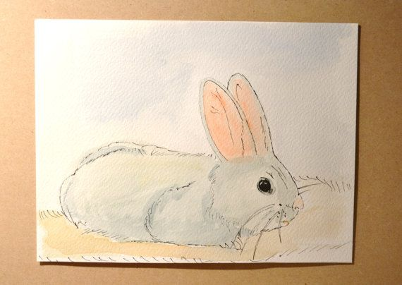 Items Similar To Original Watercolor And Ink Drawing Baby Rabbit 9 1 2 By 7 In On Etsy