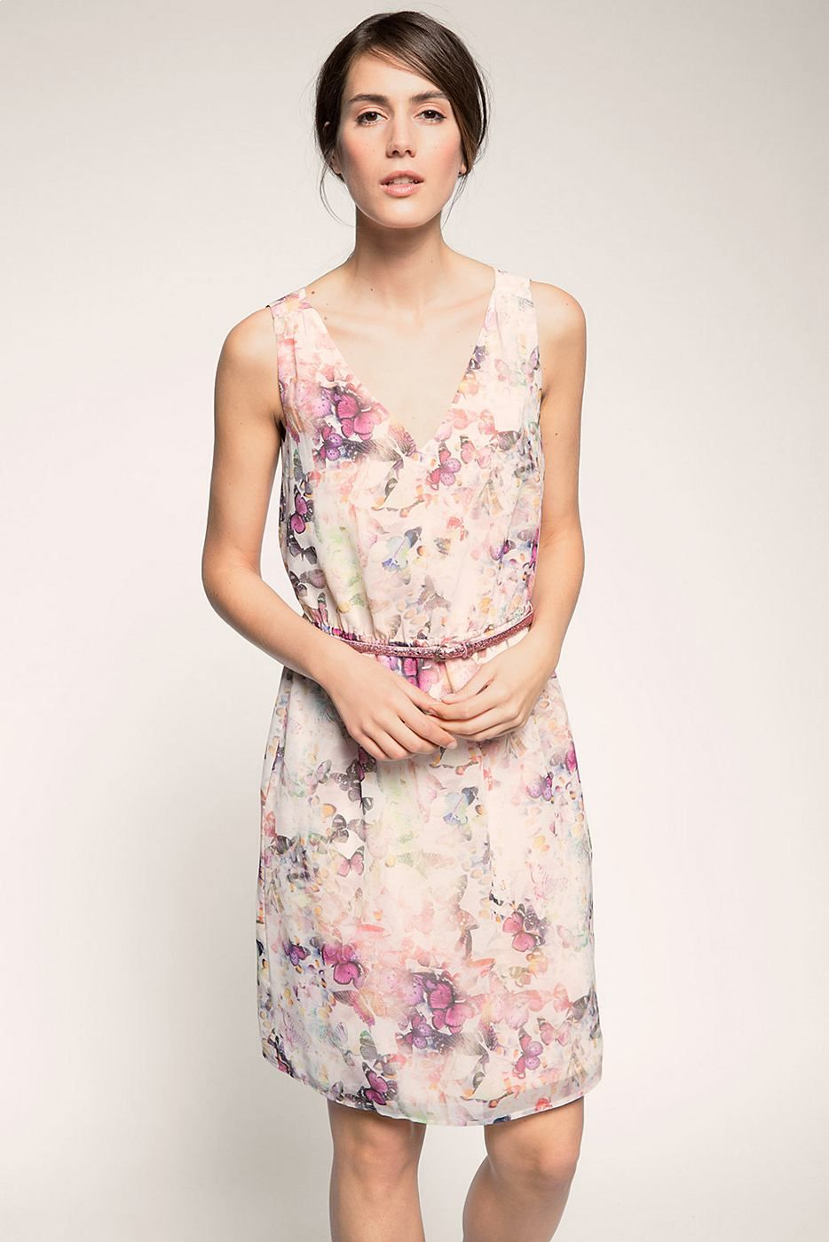 Esprit feminines kleid aus zartem chiffon