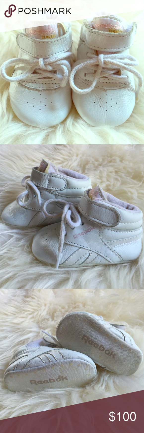 Reebok Classic Infant Girl Size 1 Baby Sneakers *MINT condition vintage white leather baby girl running shoes. What an incredible gift! These are in the novelty collectors category! For a lucky little girl! Reebok Shoes Sneakers