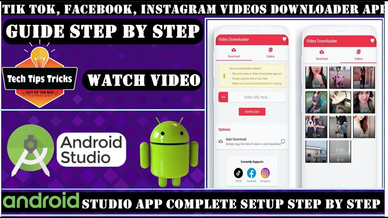 Tik Tok Video Downloader Complete Setup Android Studio Step By Step Tech Tips Trick Tech Tips Trick Ti Video Downloader App Android Studio Studio App