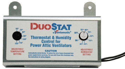 Ventamatic Xxduostat Adjustable Dual Thermostat Humidistat Control For Power Attic Ventilators By Ventamatic 49 99 From The Manufacturer Dual