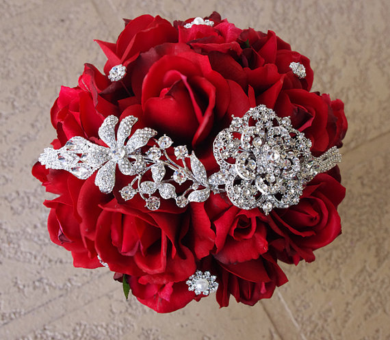 Silk Red Brooch Wedding Bouquet Natural Touch Roses And Flower