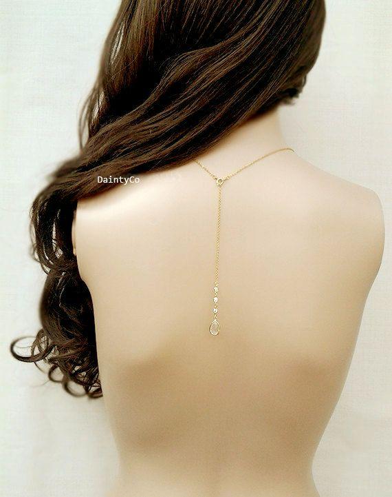 Back drop necklace back bridal necklace rose gold backdrop backless