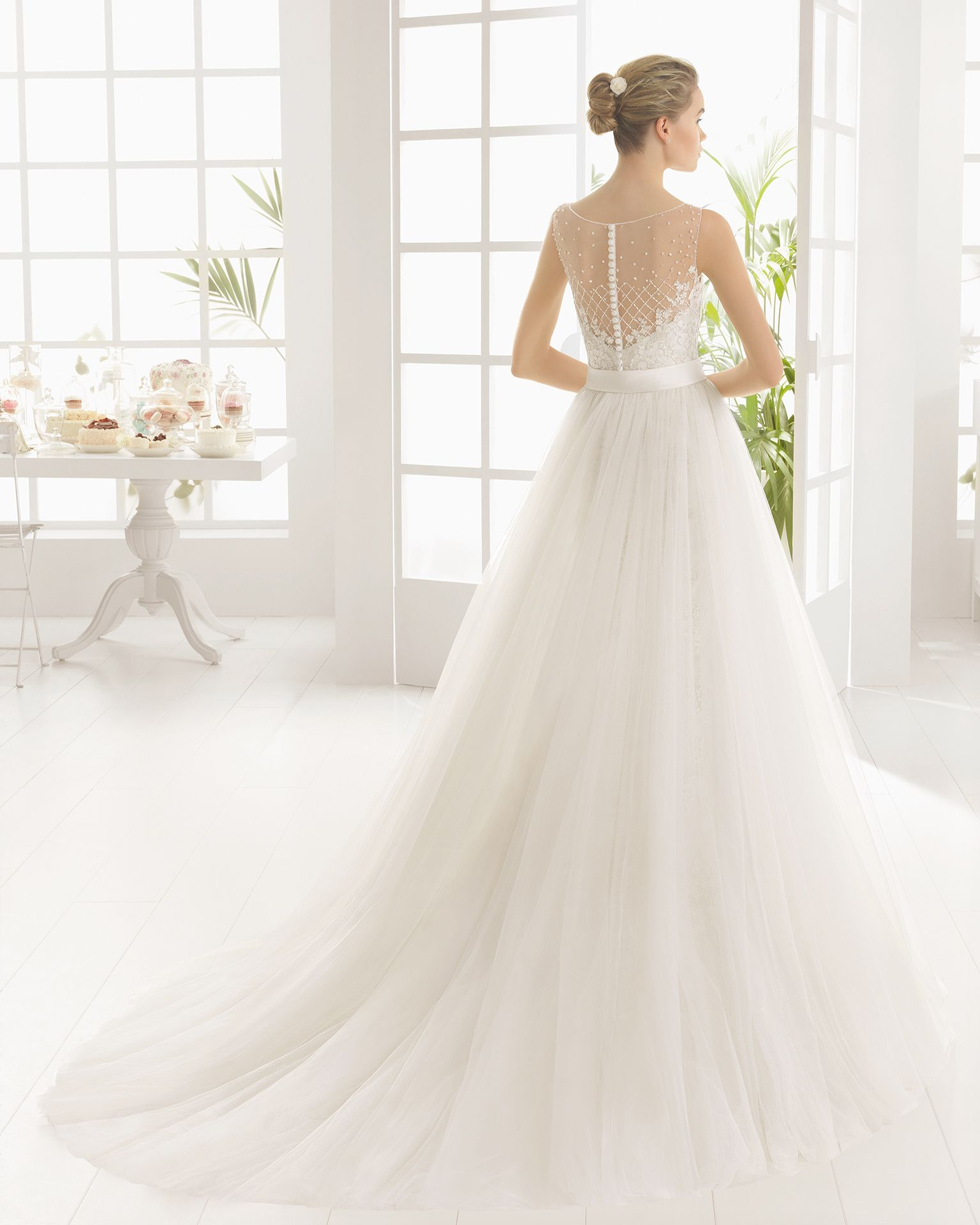 Trumpet/Mermaid Illusion Court Train Two-In-One Wedding Dresses with Applique