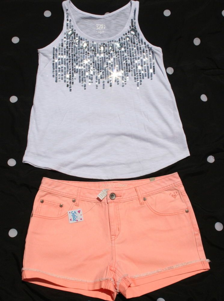f087c4eb25eb Details about Justice outfit lot set White Jewel Sequin Embellished ...