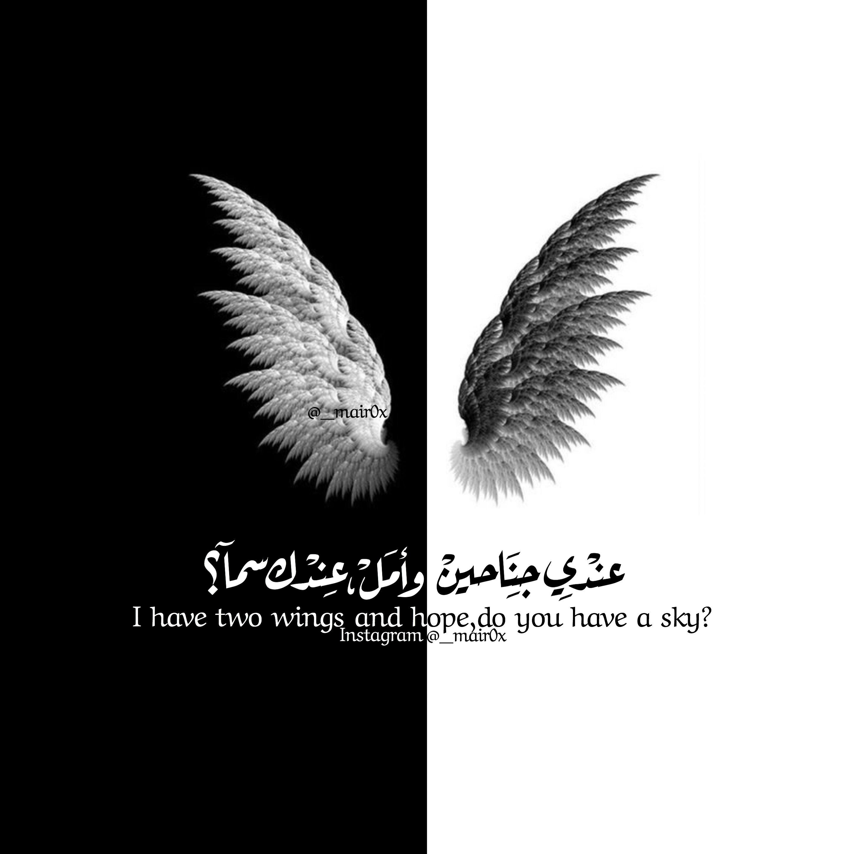 عندي جناحين امل سما عندك جناح تحليق طير اقتباسات ابيض اسود Black Books Quotes Mysterious Quotes Beautiful Arabic Words