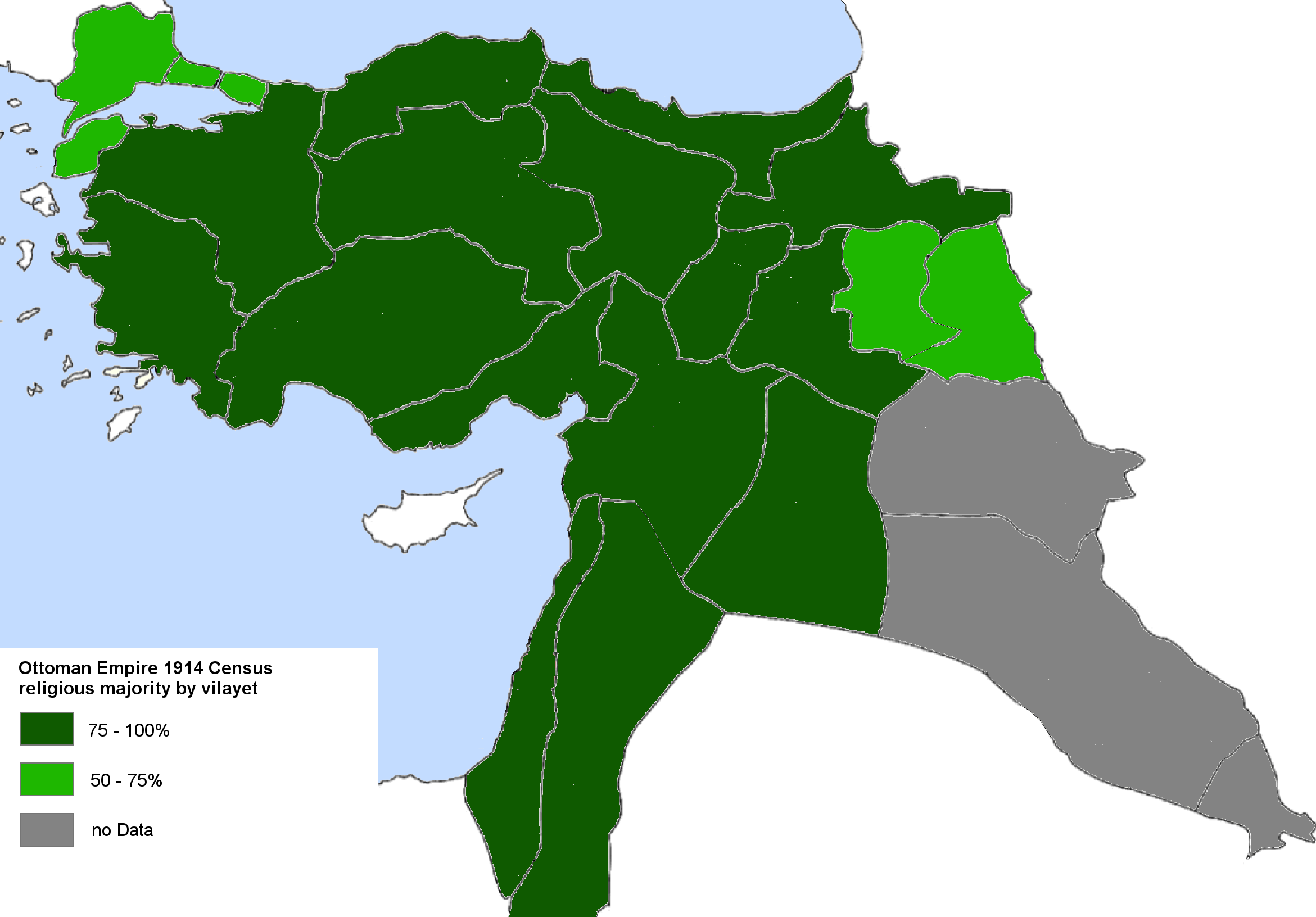 Ottoman Empire 1914 religious majority by vilayet