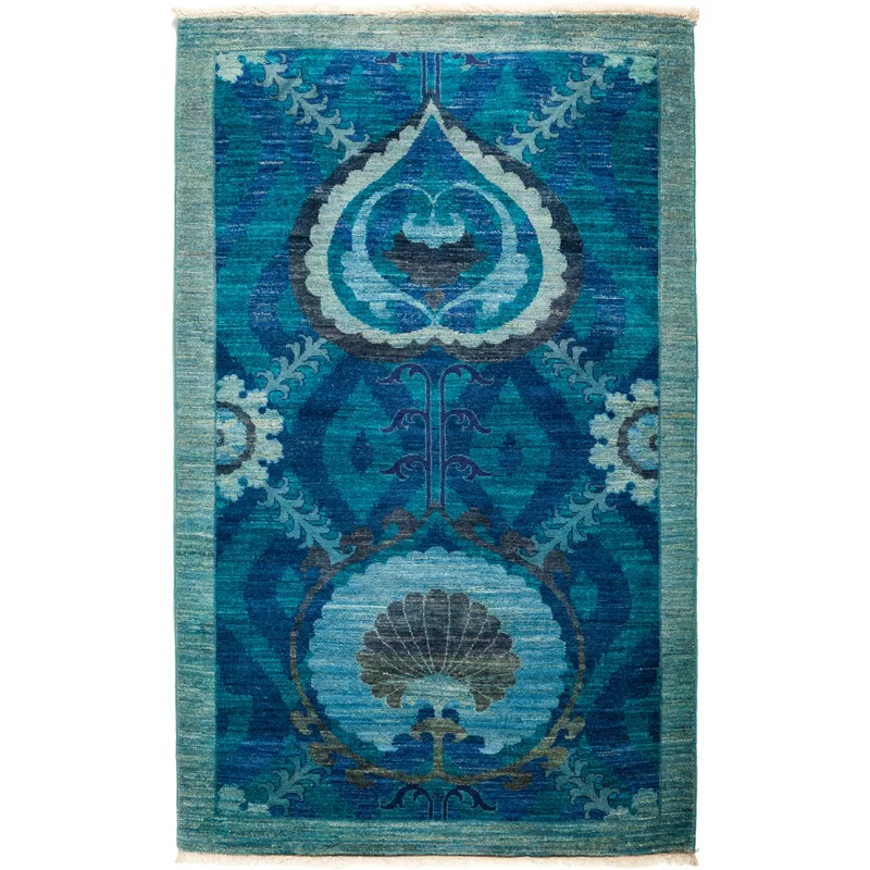 Solo Rugs One Of A Kind Suzani Lily Hand Knotted 3 2 X 5 2 Wool Blue Area Rug Perigold Area Rugs Rugs Blue Area Rugs