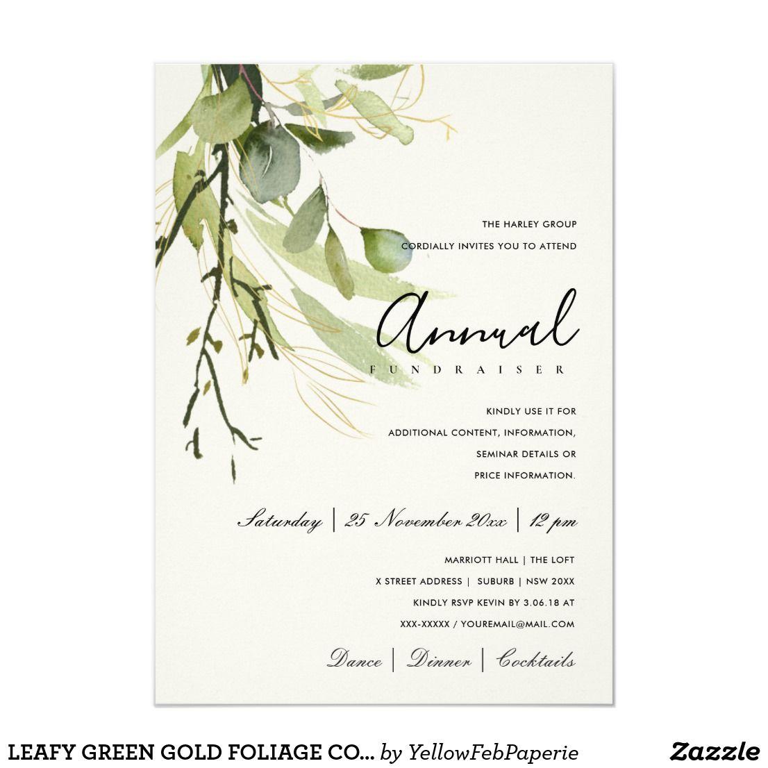 Leafy green gold foliage corporate party event invitation