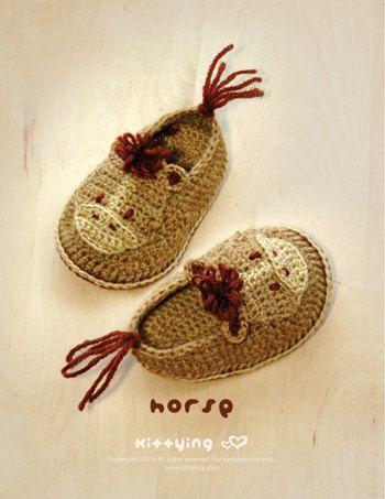 Horse Baby Booties Crochet Pattern Horse Preemie by Crochet Pattern ...