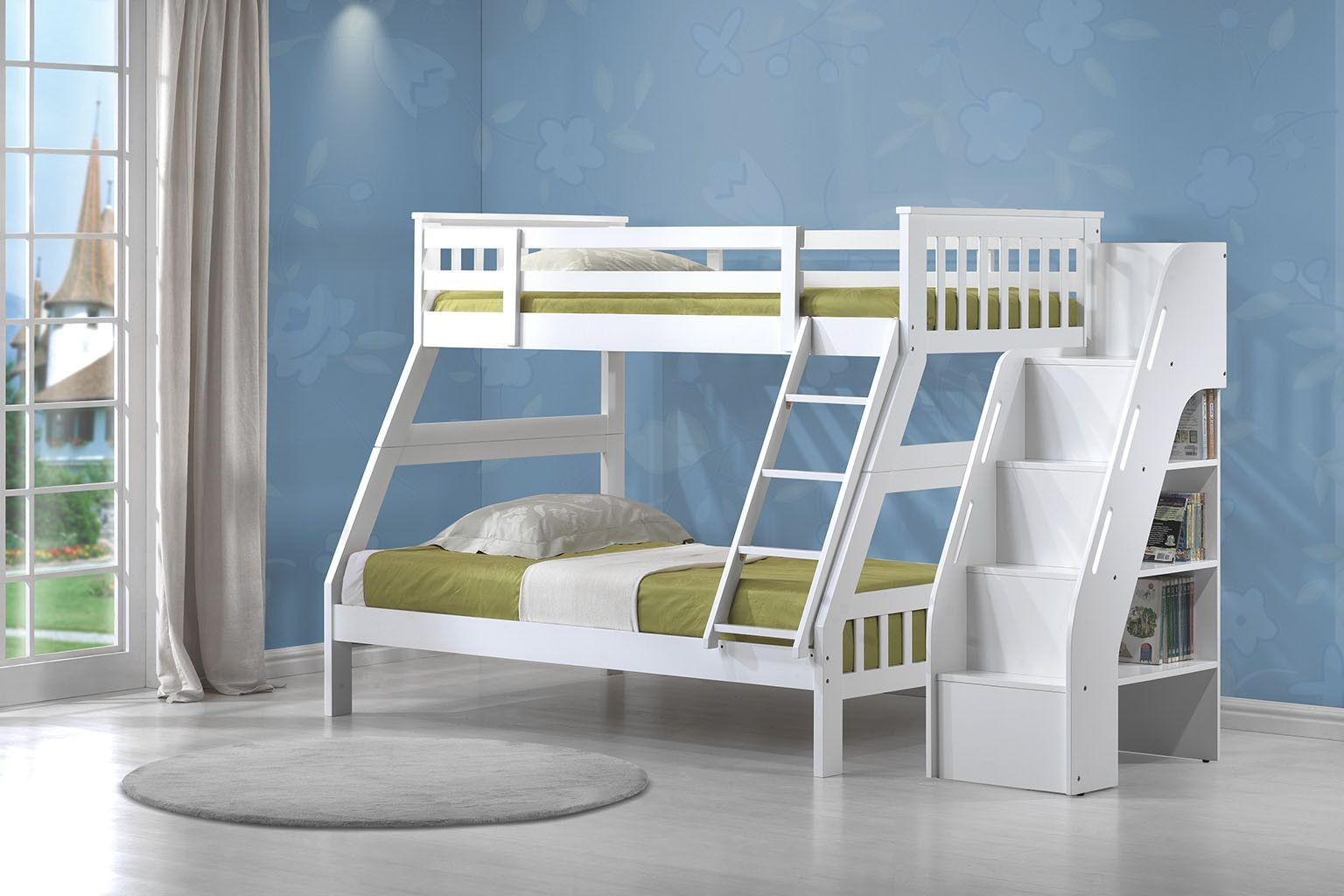 Twinfull bunk bed u bookcase ladder not convertible twin full