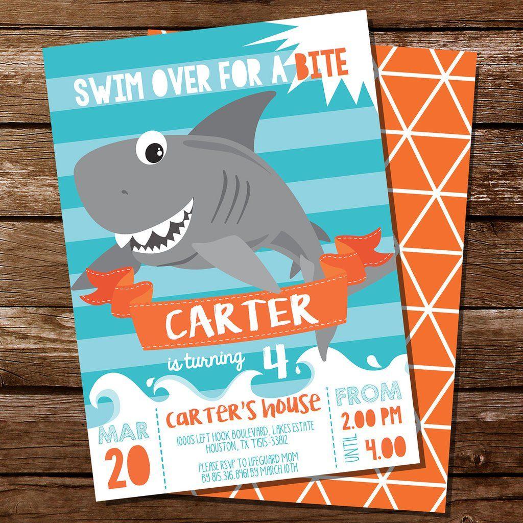 Shark Party Invitation Shark Birthday Invite Shark party Party