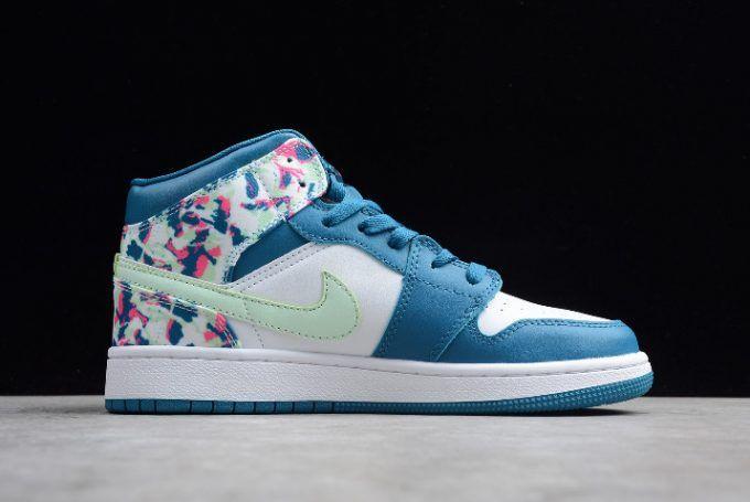 sale retailer c01b6 81e55 2019 New Air Jordan 1 Mid White Blue Pink Green Girls Size-6