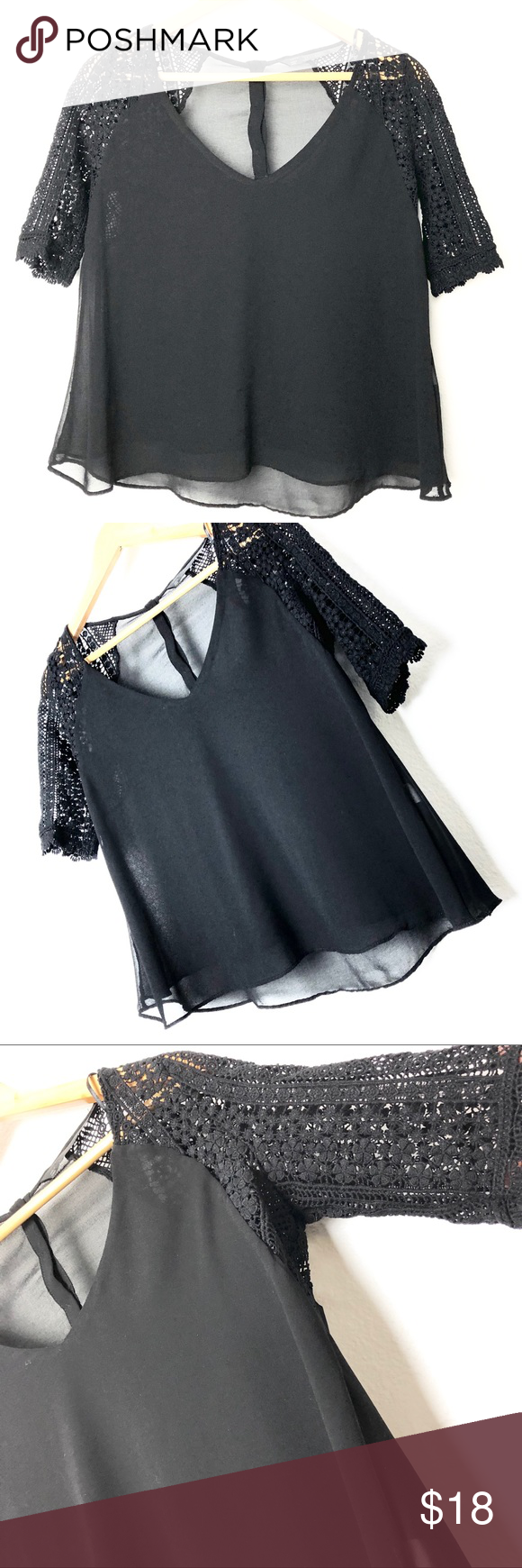 """Zara Trafaluc black lace sleeves blouse This is a Zara Trafaluc black lace sleeves blouse.  👁🗨 Size S  👁🗨 Bust approx 18 - 18 1/2""""..."""