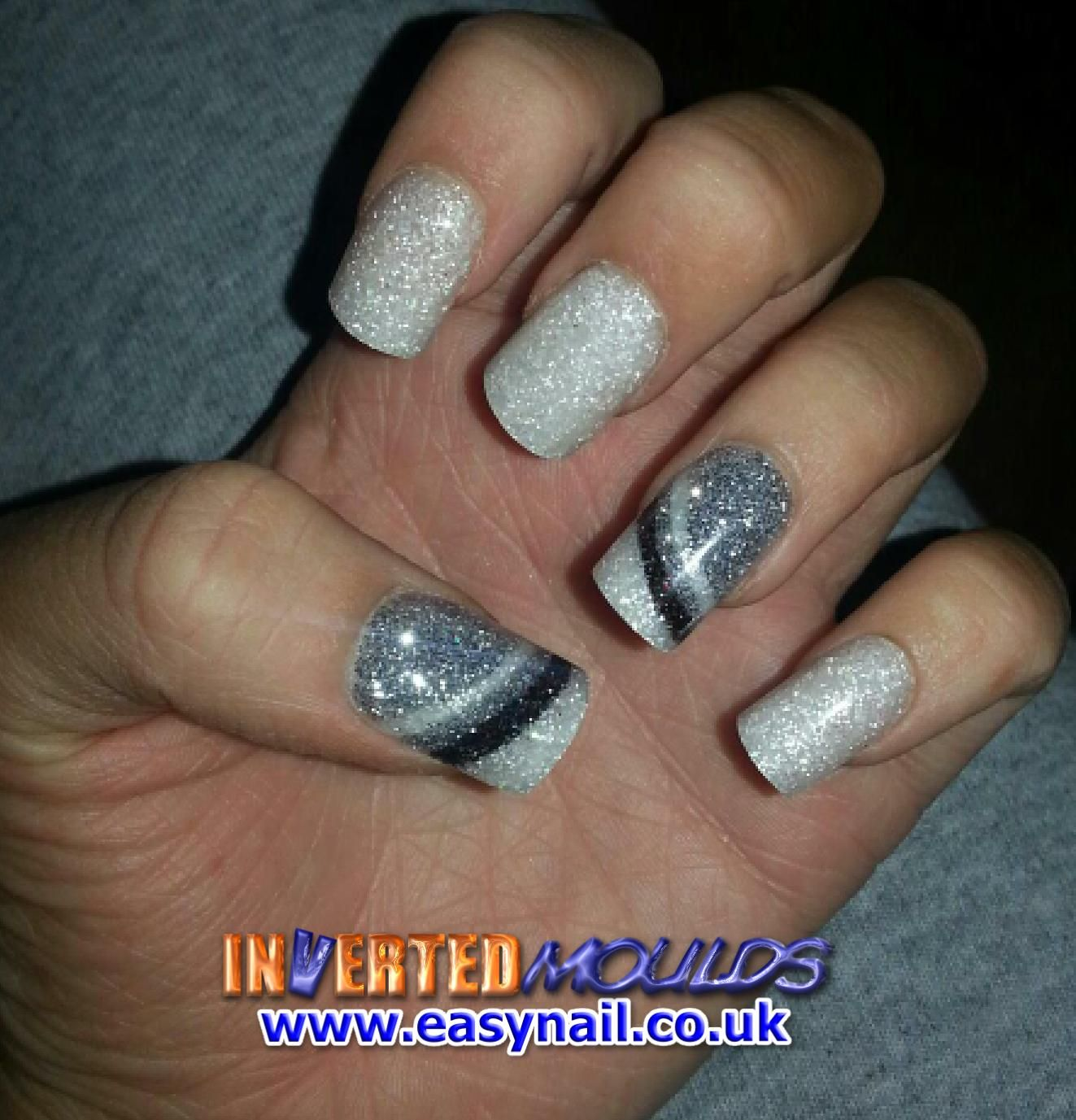 Iridescent White and Silver glitter Inverted Moulds by Jennifer ...