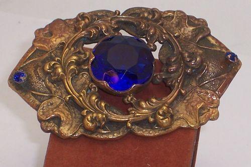 "Big 3"" Beautiful Blue Stone Art Nouveau Sash Brooch | eBay"