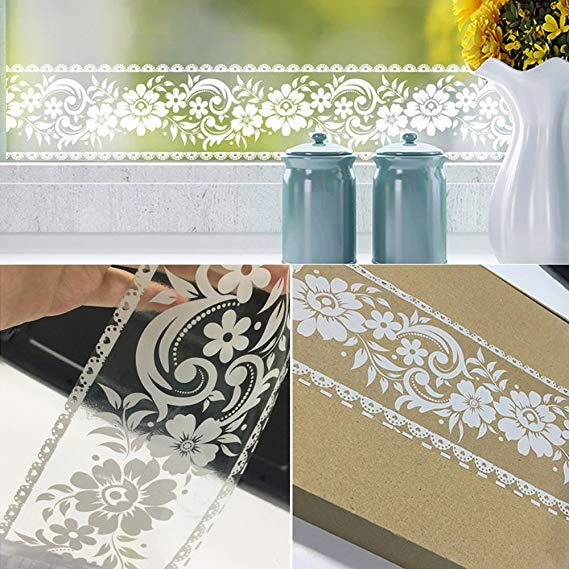 SimpleLife4U White Lace Transparent Removable Wallpaper