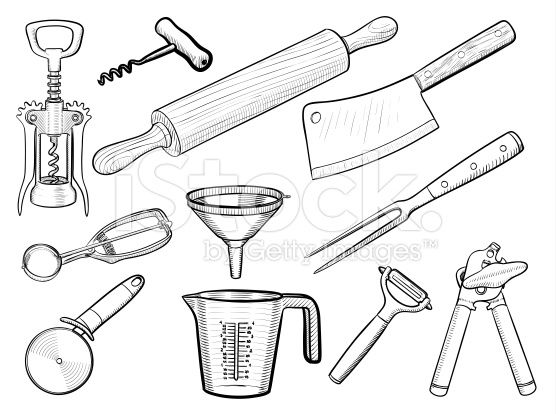 Vector Hand Drawn Kitchen Equipment And Tableware Sketches Mickey Drawing Free Vector Art