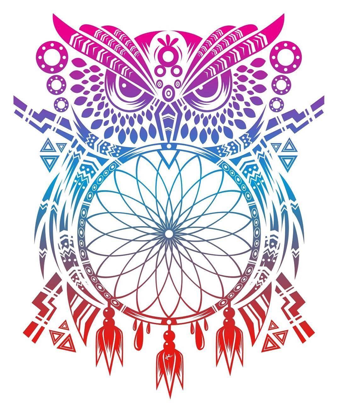 Color art dreamcatcher - B Ho Atrapasue Os Stencil Dreamcatcher Owl Stencil I Hope You