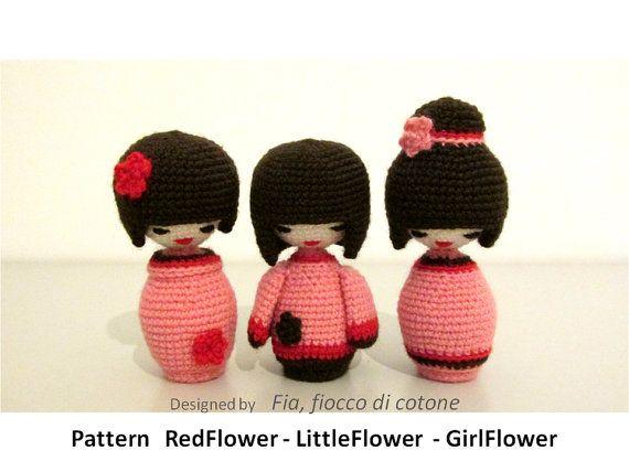 Pattern 3 flowers kokeshi doll amigurumi crochet por cottonflake ...