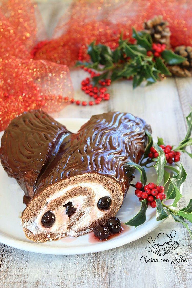 Tronchetto Di Natale Panettone.Tronchetto Di Natale Foresta Nera Ricetta Food Recipes Food