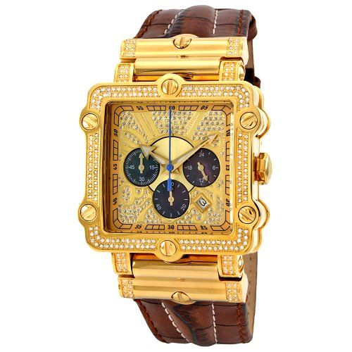 Jbw Men S Jb 6215 238 A Phantom Brown Diamond And Gold Bezel