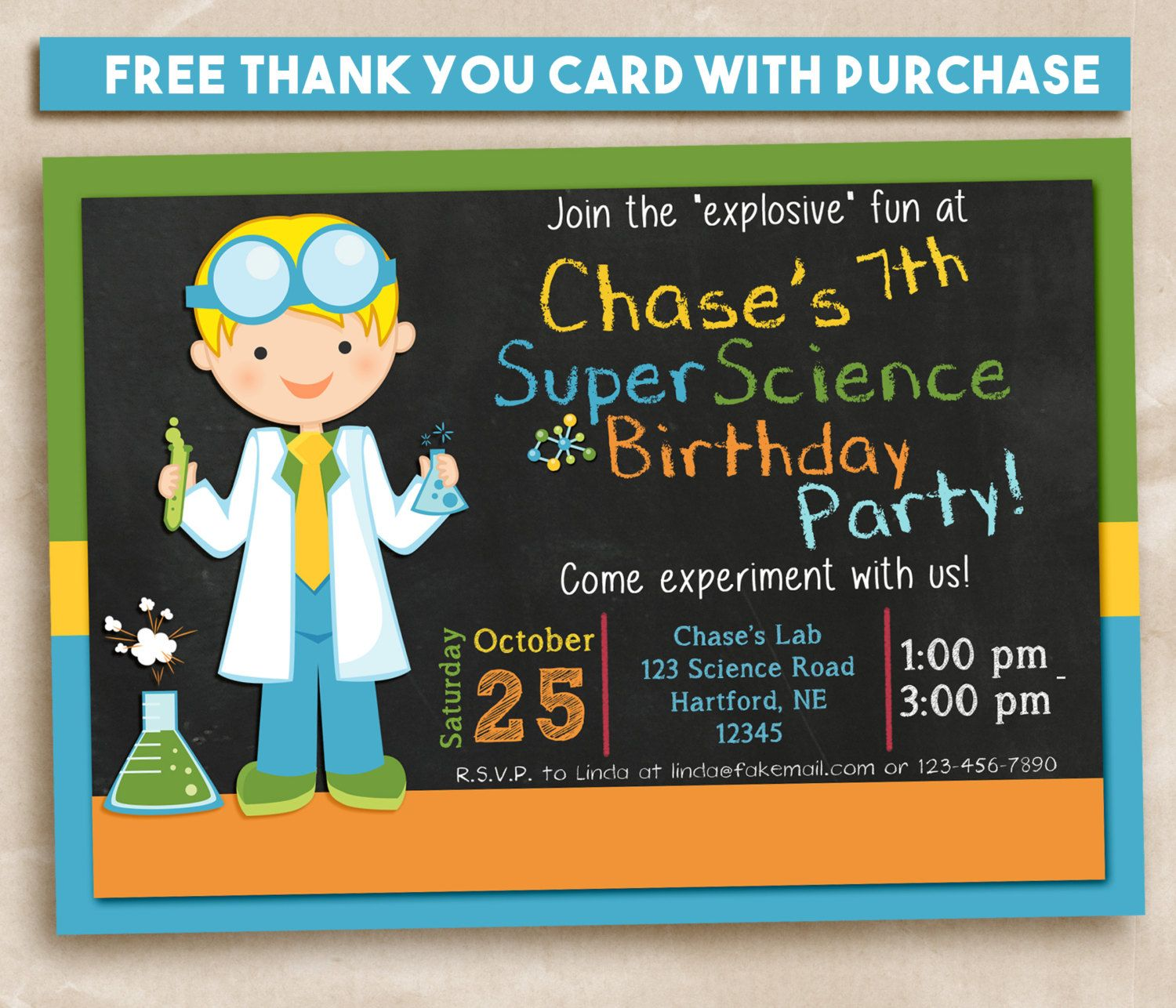 Boy Science party Invitation. Printable 5x7 Invitation and FREE ...