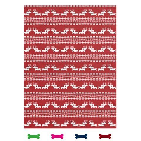 Fair Isle Dachshund Fleece Blanket (Red, Navy, Pink or Green)