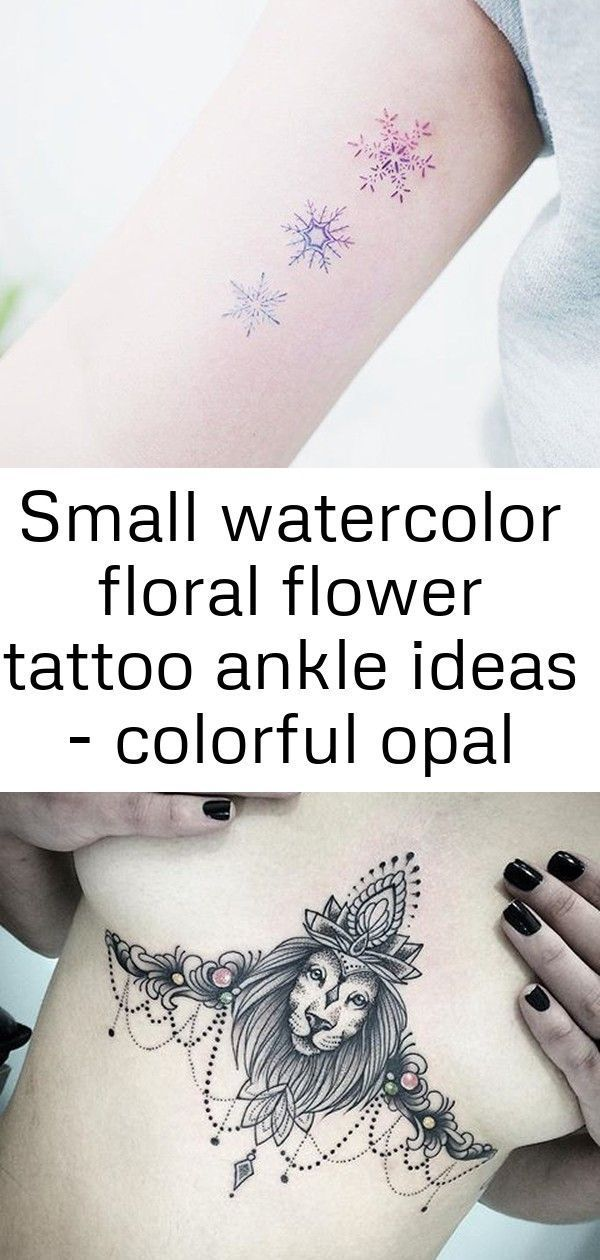 Small watercolor floral flower tattoo ankle ideas  colorful opal rainbow air balloon snowflake bice  Watercolor Tattoo ankle
