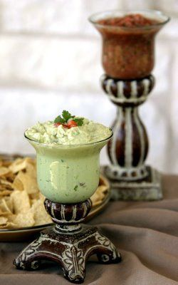 Dip and salsa served in pretty candleholders. We love this idea!
