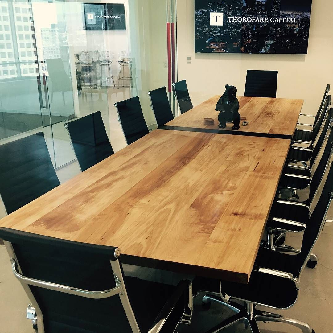 "Awesome customer photo of the table in its final setup! Custom 14' Modern Industrial Conference Table turned out beautiful! Made of steel and 2"" thick maple top. IndustrialReclaim.com"